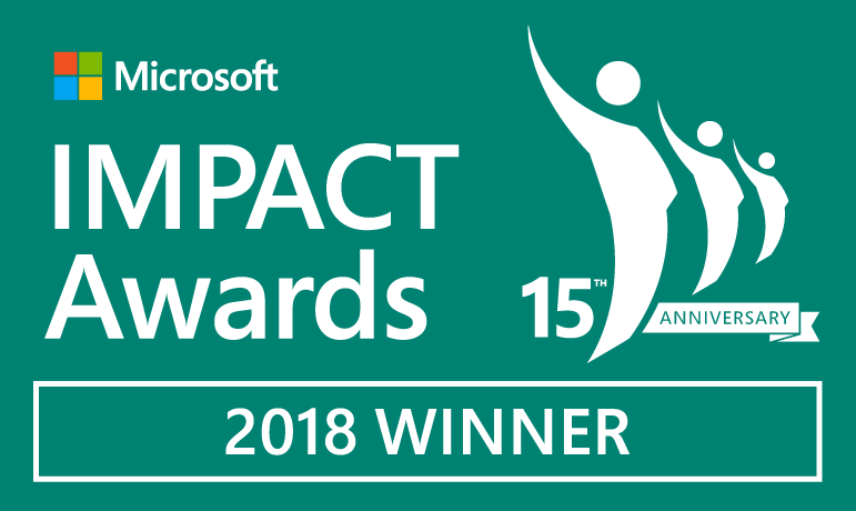 IMPACTAwards 2018Winner badge teal